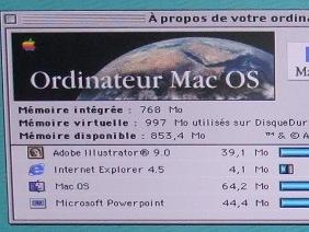 Photo d'une partie de l'écran montrant que ça tourne sous Mac OS 8.6