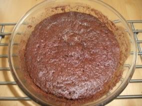 Gâteau au chocolat à la farine de châtaignes à la sortie du micro-ondes