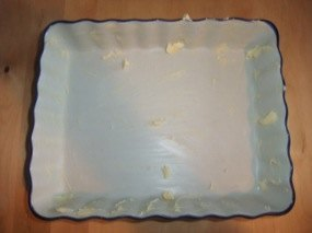 Photo du plat beurré puis du plat fariné