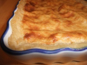 Photo du flan pâtissier avec farine d'épautre ; résultat après cuisson
