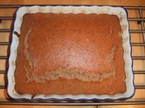Plat avec le gâteau à la sortie du four